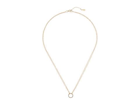 SHASHI Circle Pave Pendant Necklace - Gold/Vermeil