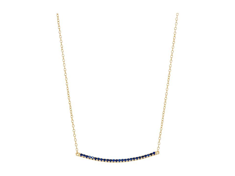 SHASHI - Bar Pave Pendant Necklace (Gold/Vermeil/Sapphire) Necklace