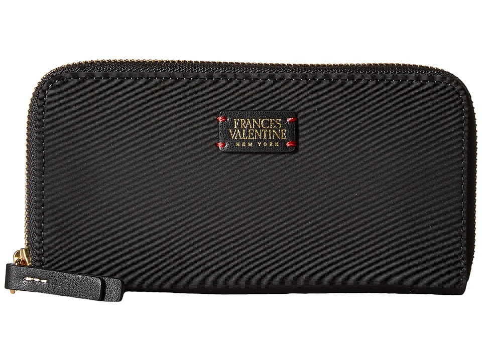 Frances Valentine - Kennedy Zip Around Wallet (Black Nylon) Wallet Handbags