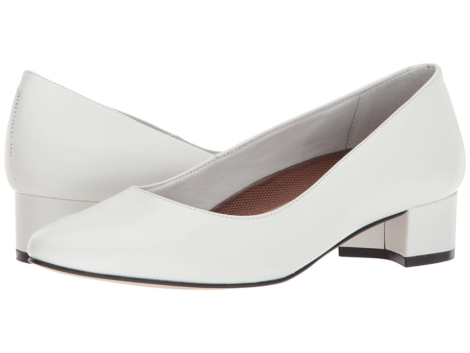 Vintage Style Wedding Shoes, Boots, Flats, Heels Walking Cradles - Heidi White Leather Womens 1-2 inch heel Shoes $100.00 AT vintagedancer.com