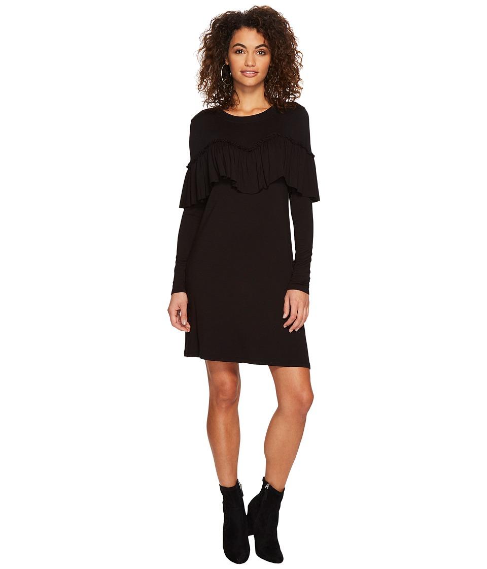 kensie Drapey French Terry Dress KSDK8106 (Black) Women