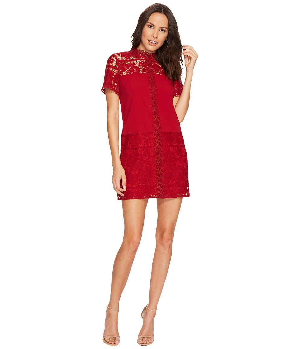 kensie Striped Floral Lace Dress KSDK8113 (Deep Red) Women