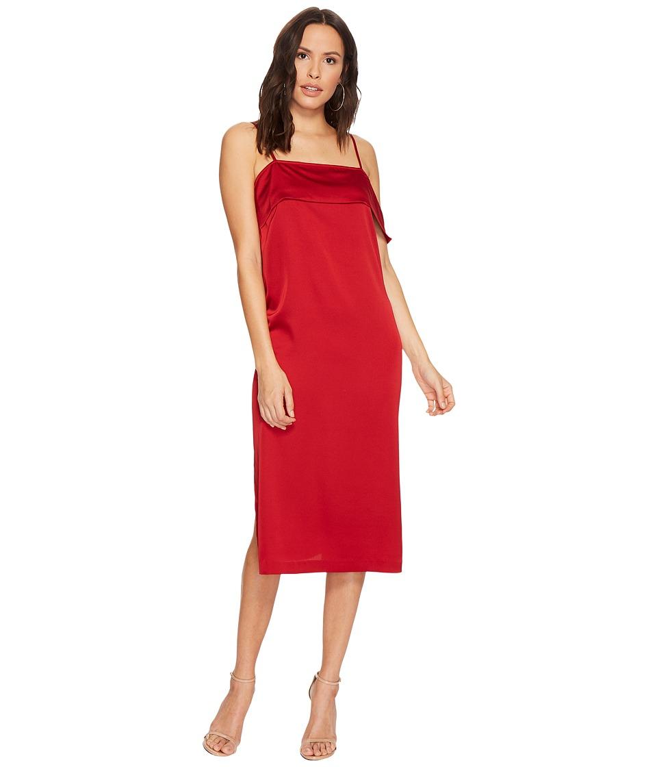 kensie Shiny Polyester Dress KSDU7070 (Deep Red) Women