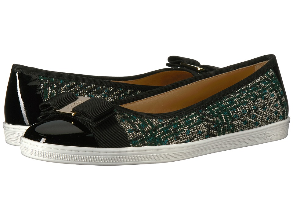 Salvatore Ferragamo Nappa Leather/Tweed Sneaker (Cypress Tree Fabric Nero Patent Calf) Women