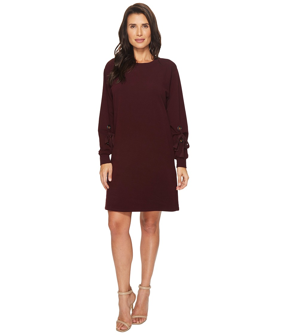 TWO by Vince Camuto Long Tie Sleeve French Terry Dress with Grommets (Cherry Noir) Women