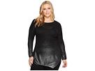 TWO by Vince Camuto Plus Size Long Sleeve Asymmetrical Hem Foil Ombre Dip-Dye Sweater