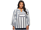 TWO by Vince Camuto Plus Size Bell Sleeve Refined Herringbone V-Neck Shirt