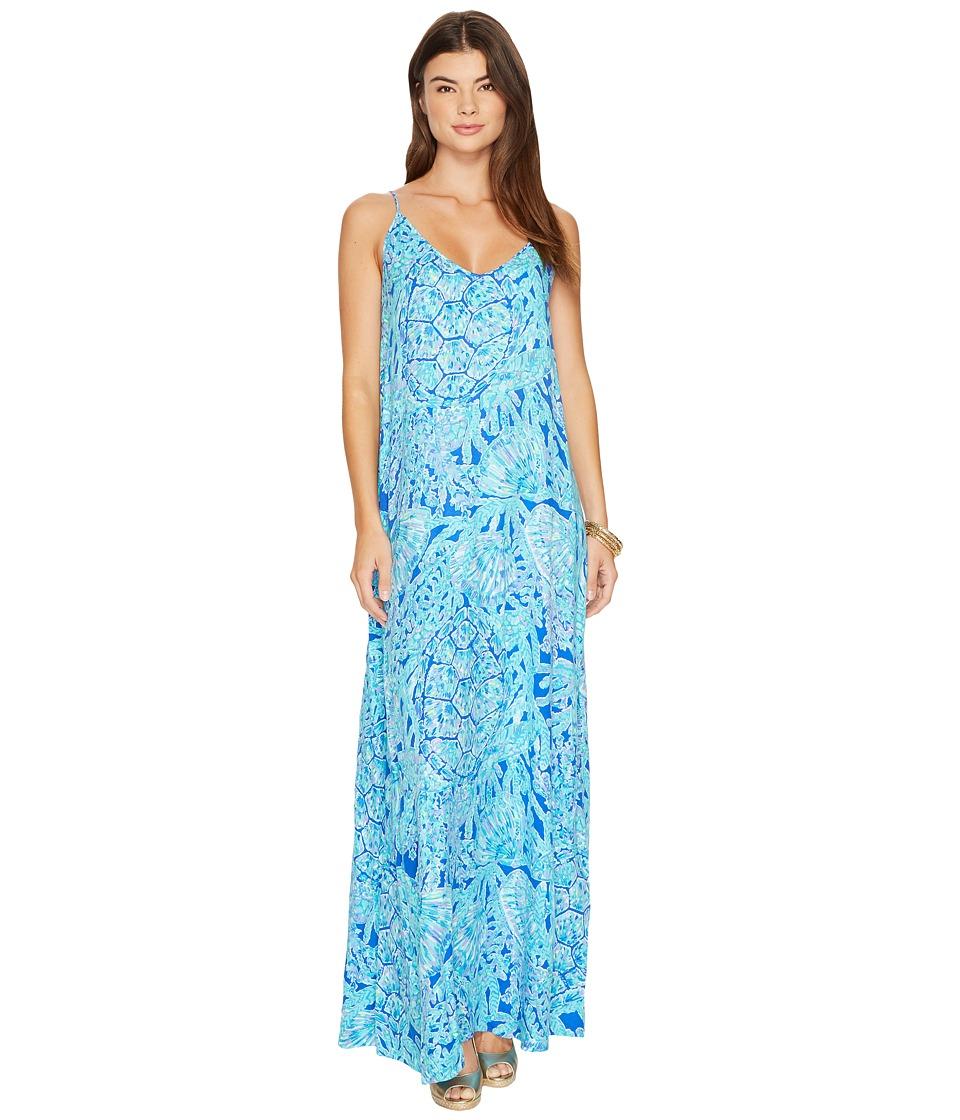 Lilly Pulitzer Allair Maxi Beach Dress (Capri Teal Pop Up Tortuga Time) Women