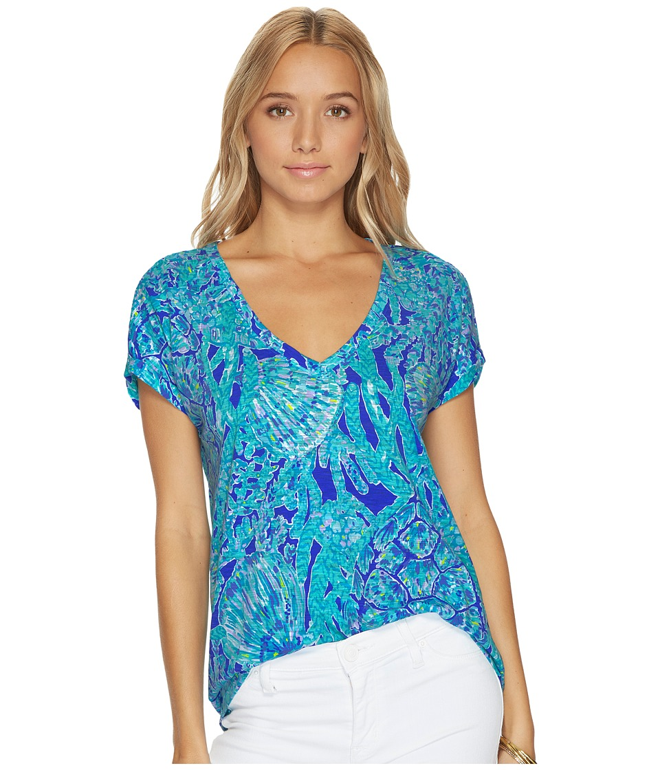 Lilly Pulitzer Daley Tee (Capri Teal Pop Up Tortuga Time) Women