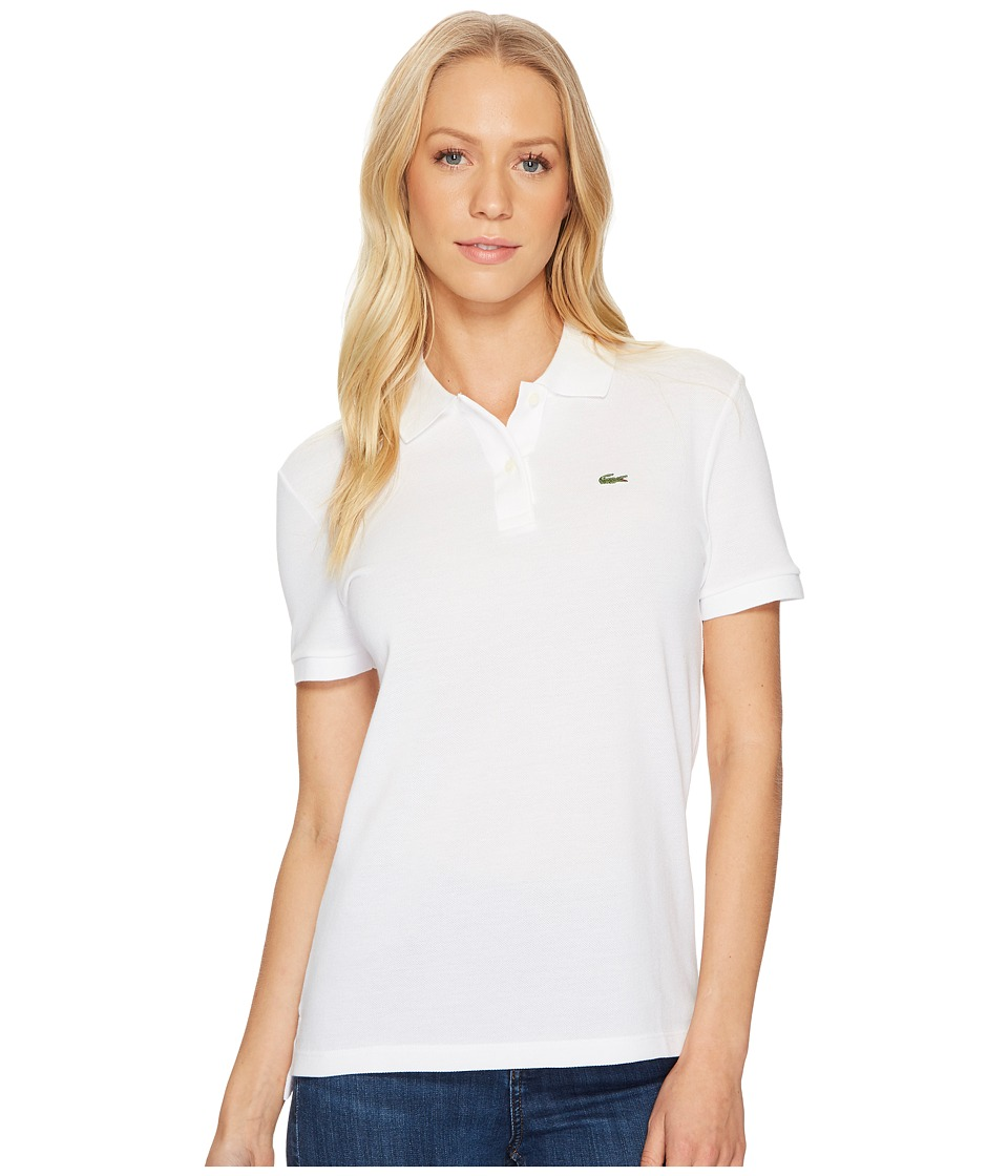 Lacoste - Short Sleeve Two-Button Classic Fit Pique Polo (White) Womens Clothing