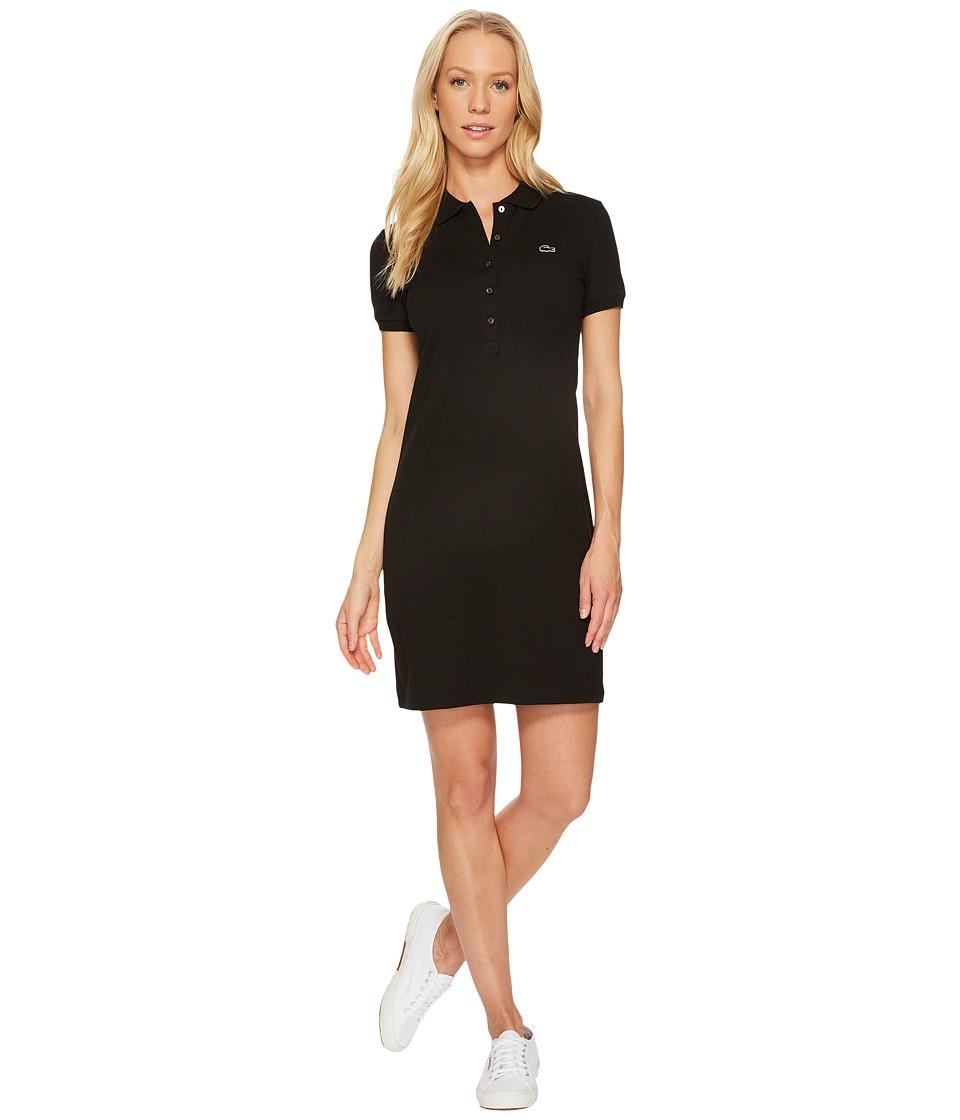 Lacoste Short Sleeve Pique Polo Dress (Black) Women