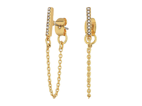 Rebecca Minkoff Pave Bar Chain Earrings - Gold/Crystal