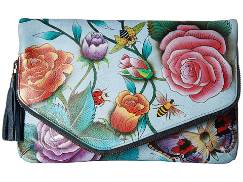 Anuschka Handbags 607 Convertible Envelope Clutch Wristlet - Roses DAmour
