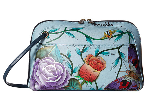 Anuschka Handbags 349 Small Multi Compartment All-Round Zip - Roses DAmour