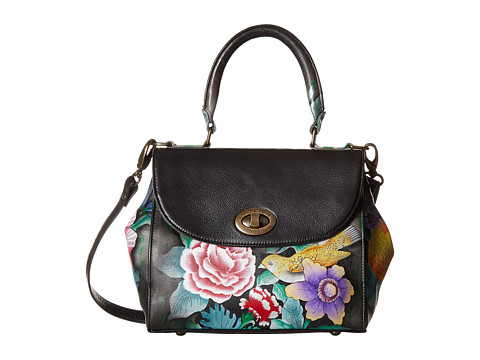 Anuschka Handbags 624 Medium Flap Satchel - Vintage Bouquet