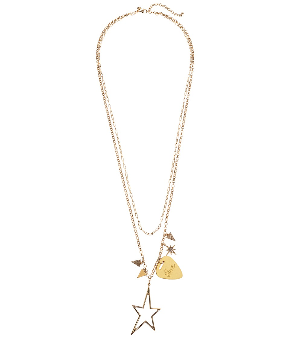 Rebecca Minkoff - Guitar Pick Charm Cluster Necklace (Gold) Necklace