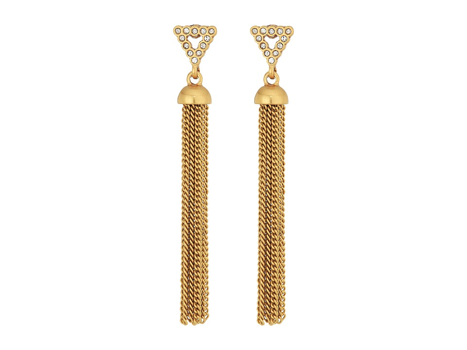 Rebecca Minkoff - Triangle Tassel Earrings (Gold) Earring