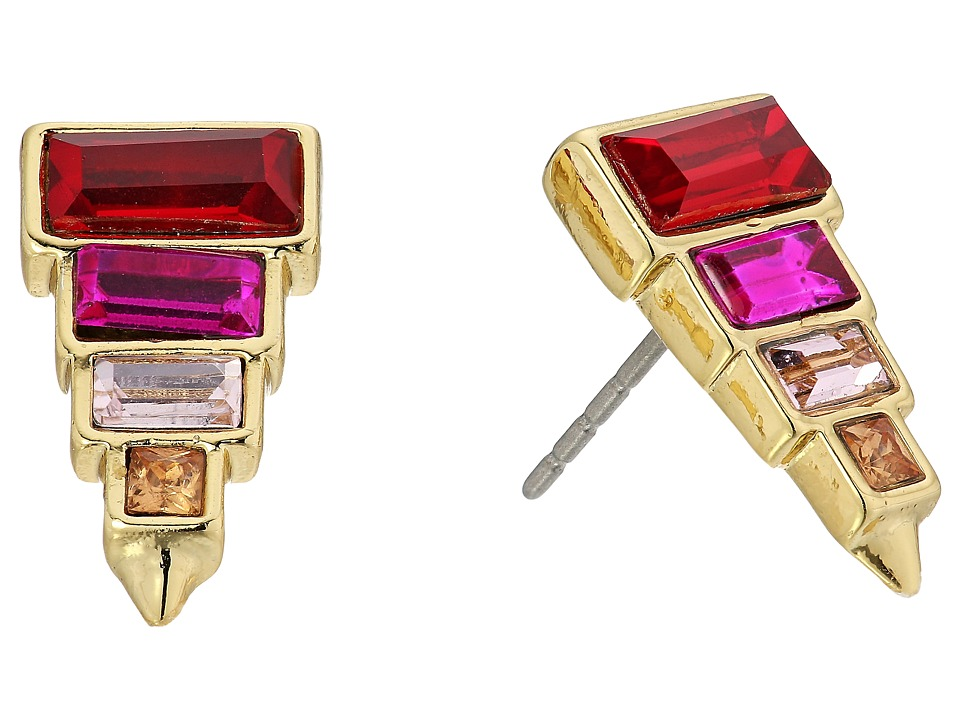 Rebecca Minkoff - Stacked Baguette Earrings (Gold/Red) Earring