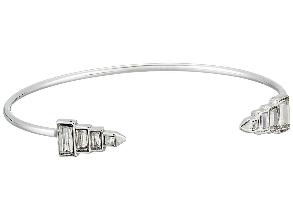 Rebecca Minkoff - Stacked Baguette Hinged Cuff Bracelet (Silver/Crystal) Bracelet