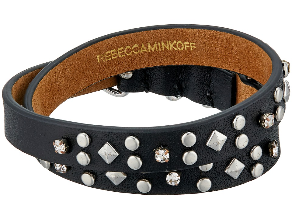 Rebecca Minkoff - Studded Double Wrap Leather Bracelet (Black/Silver) Bracelet