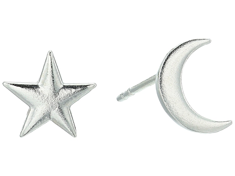 Alex and Ani - Moon and Star Post Earrings (Sterling Silver) Earring