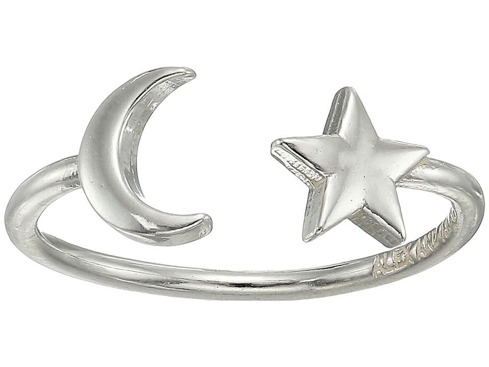 Alex and Ani - Moon and Star Adjustable Ring (Sterling Silver) Ring