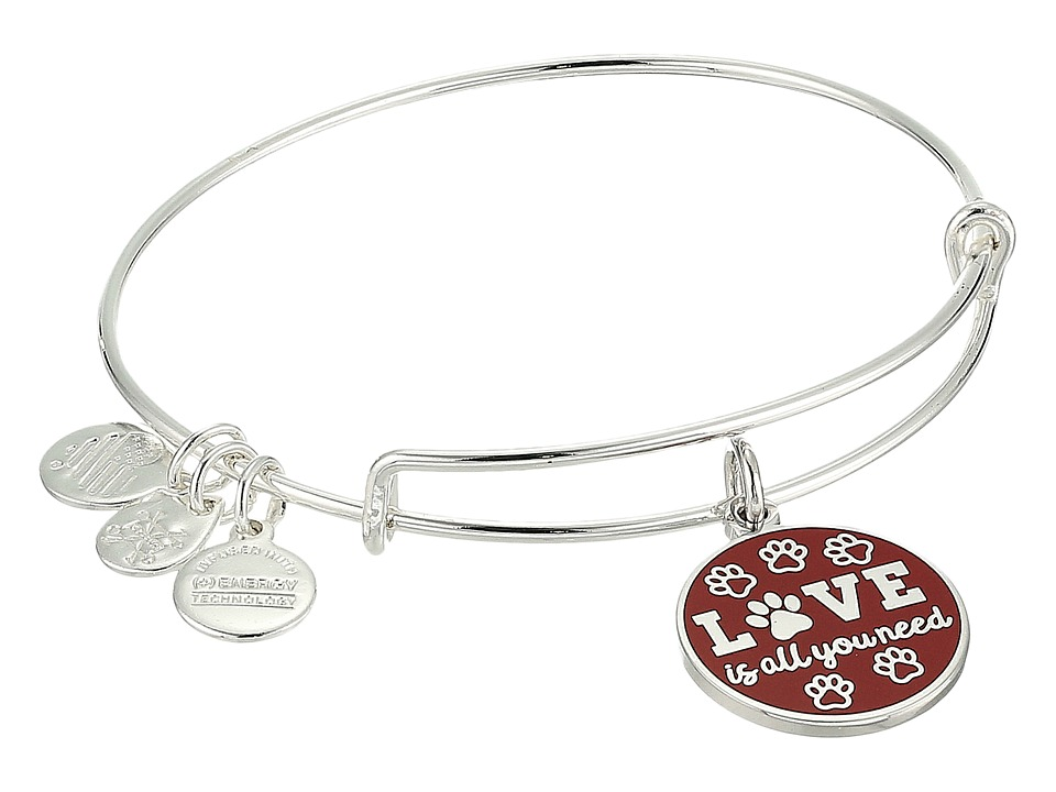 Alex and Ani - Words Are Powerful Love Is All You Need Bangle (Shiny Silver) Bracelet