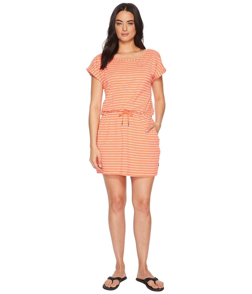 Jack Wolfskin Travel Striped Dress (Hot Coral Stripes) Women