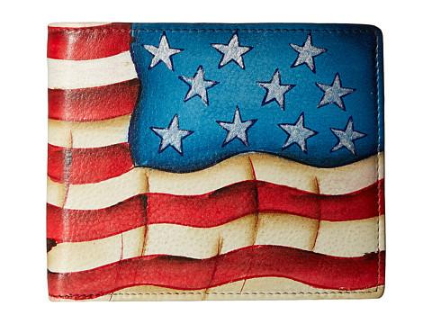 Anuschka Handbags 3000 Two Fold Men s Wallet - Stars and Stripes
