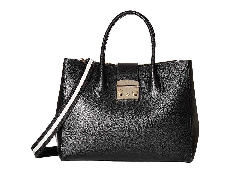 Furla - Metropolis Post Medium Tote (Onyx/Petalo) Tote Handbags