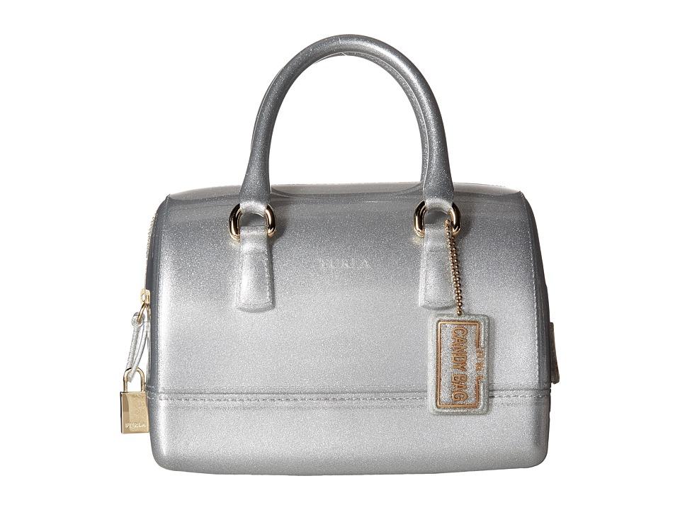 Furla Candy Cookie Small Satchel (Silver) Satchel Handbags