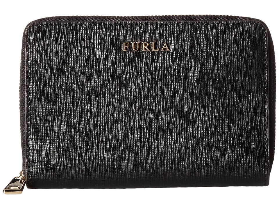 Furla - Babylon Medium Zip Around (Onyx) Handbags