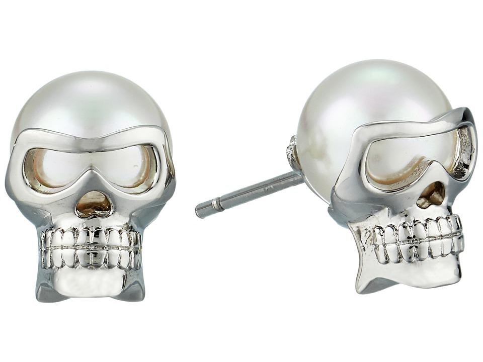 Majorica 8mm Round Skull Stud Earrings (White) Earring