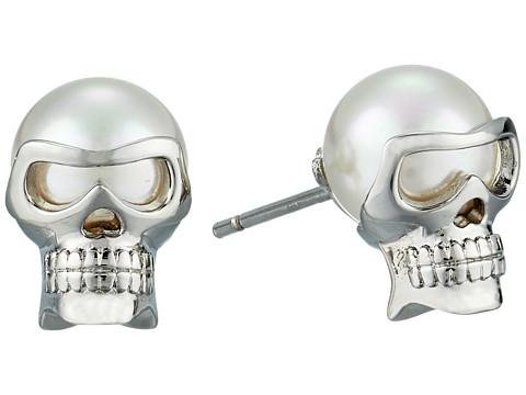 Majorica 8mm Round Skull Stud Earrings - White