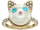 Betsey Johnson Blue and Gold Pearl Cat Ring