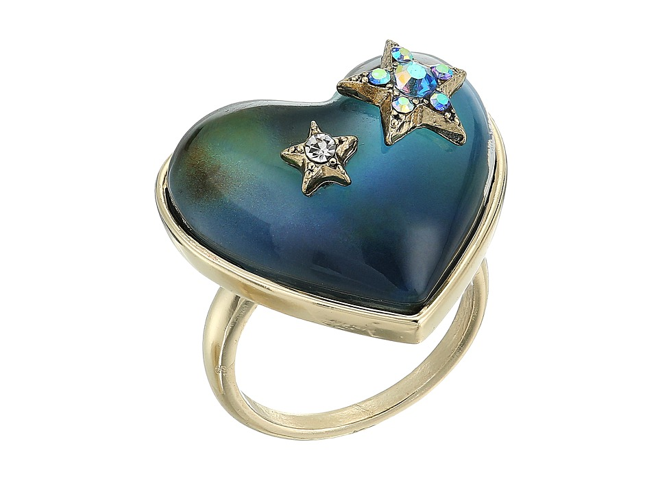 Betsey Johnson Blue and Gold Heart Mood Ring (Multi) Ring