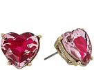 Betsey Johnson Pink and Gold Heart Stud Earrings