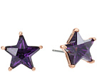 Betsey Johnson Purple and Rose Gold Star Stud Earrings