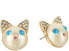 Betsey Johnson Blue and Gold Cat Stud Earrings
