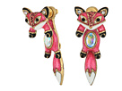 Betsey Johnson Pink and Gold Fox Front Back Earrings