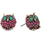 Betsey Johnson Purple and Gold Owl Stud Earrings