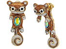 Betsey Johnson Brown and Gold Squirrel Front Back Earrings