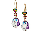 Betsey Johnson Purple and Gold Owl Drop Earrings