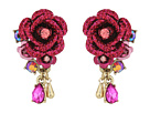 Betsey Johnson Pink and Rose Gold Cluster Earrings