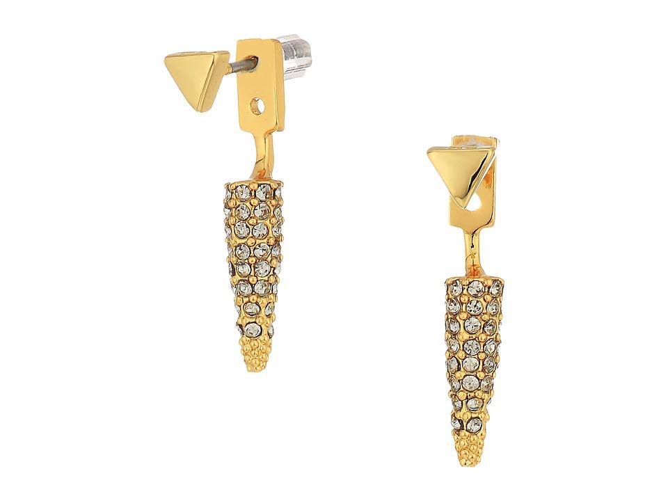 Rebecca Minkoff - Pave Spike Earrings (Gold/Black Diamond) Earring