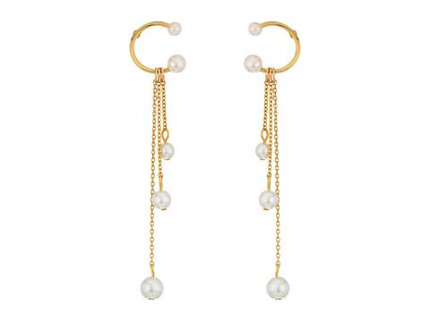 Rebecca Minkoff Linear Triple Drop Sphere Earrings - Pearl