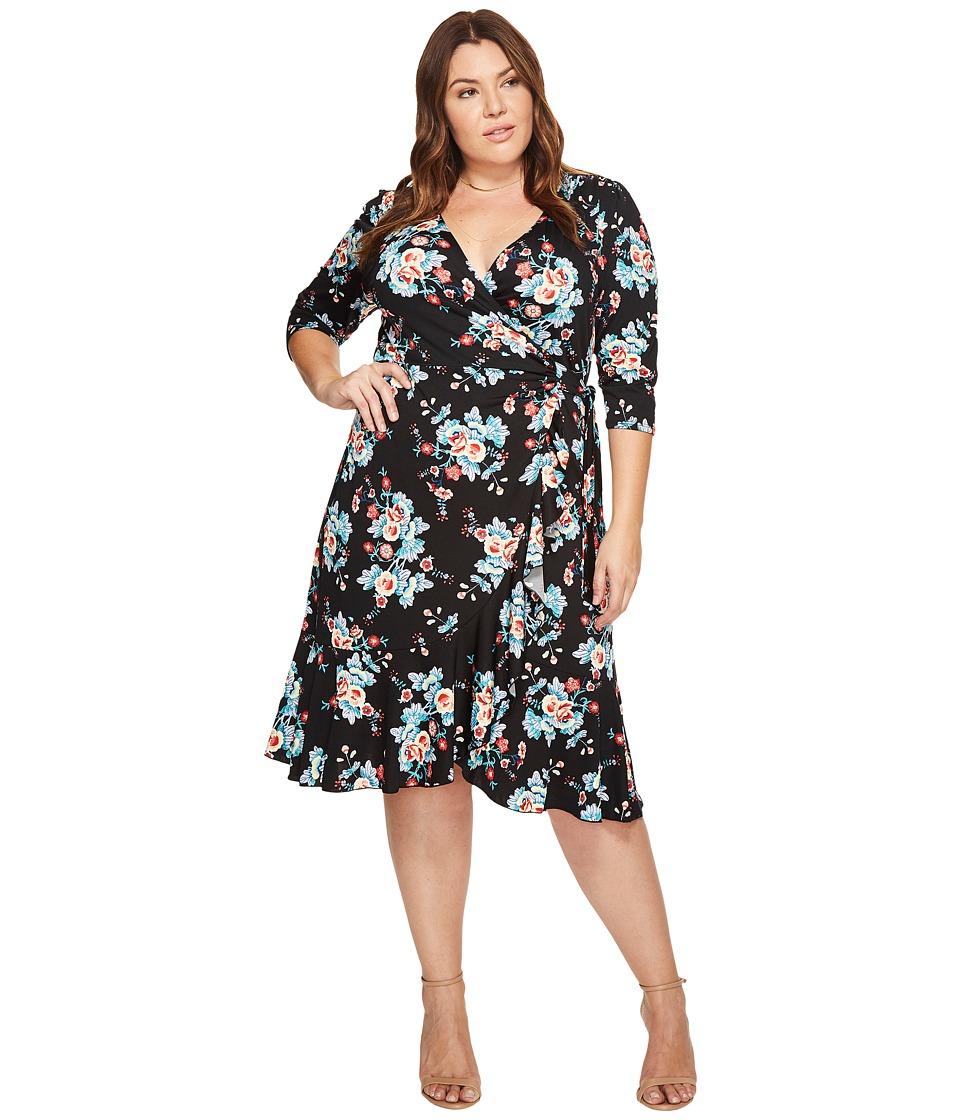 Kiyonna Flirty Flounce Wrap Dress (Midnight Vintage Floral) Women