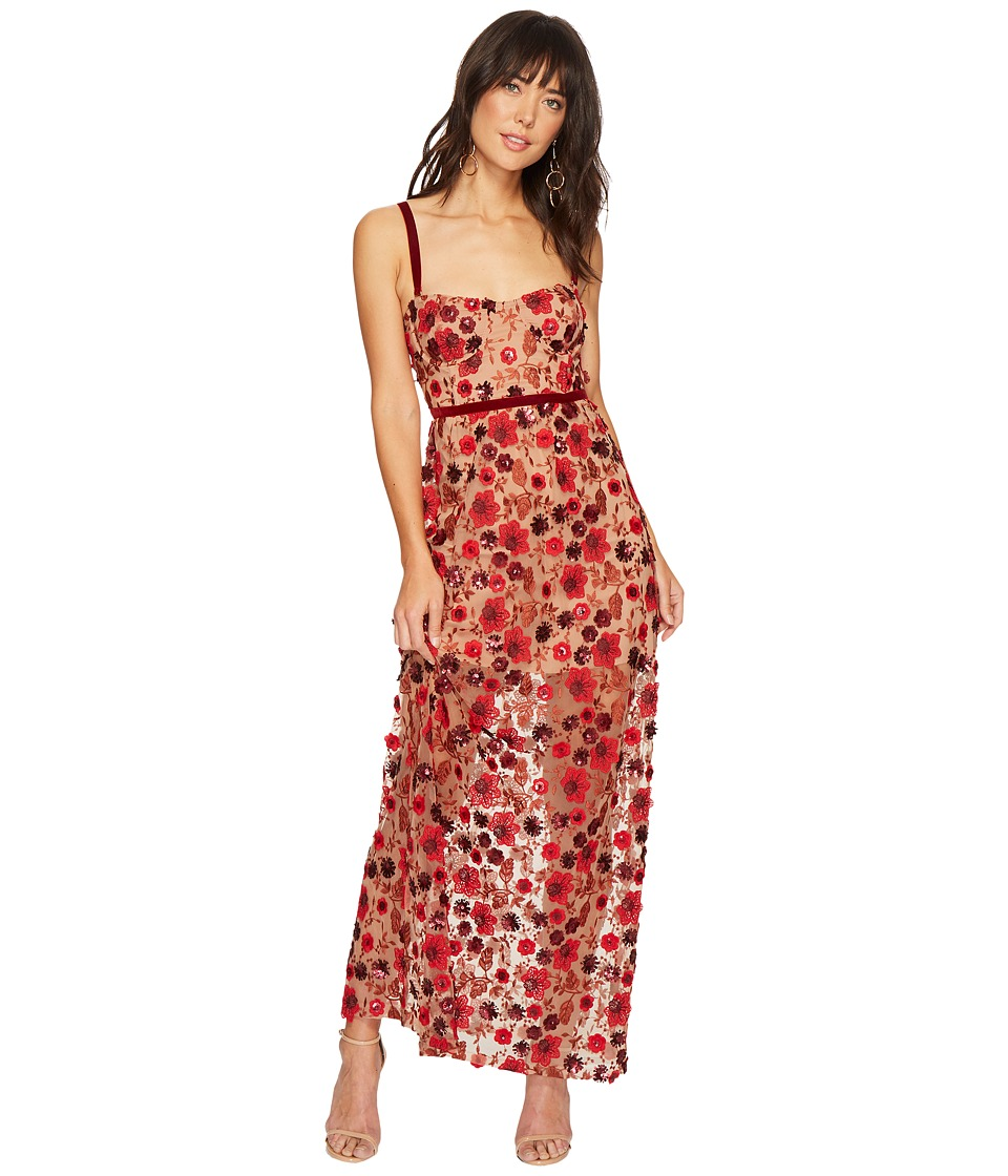 For Love and Lemons Beatrice Strappy Maxi Dress (Bouquet) Women