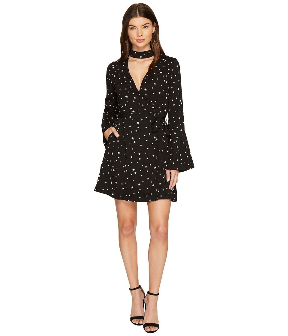 J.O.A. - Star Choker Neck Wrap Dress (Black Multi) Womens Dress