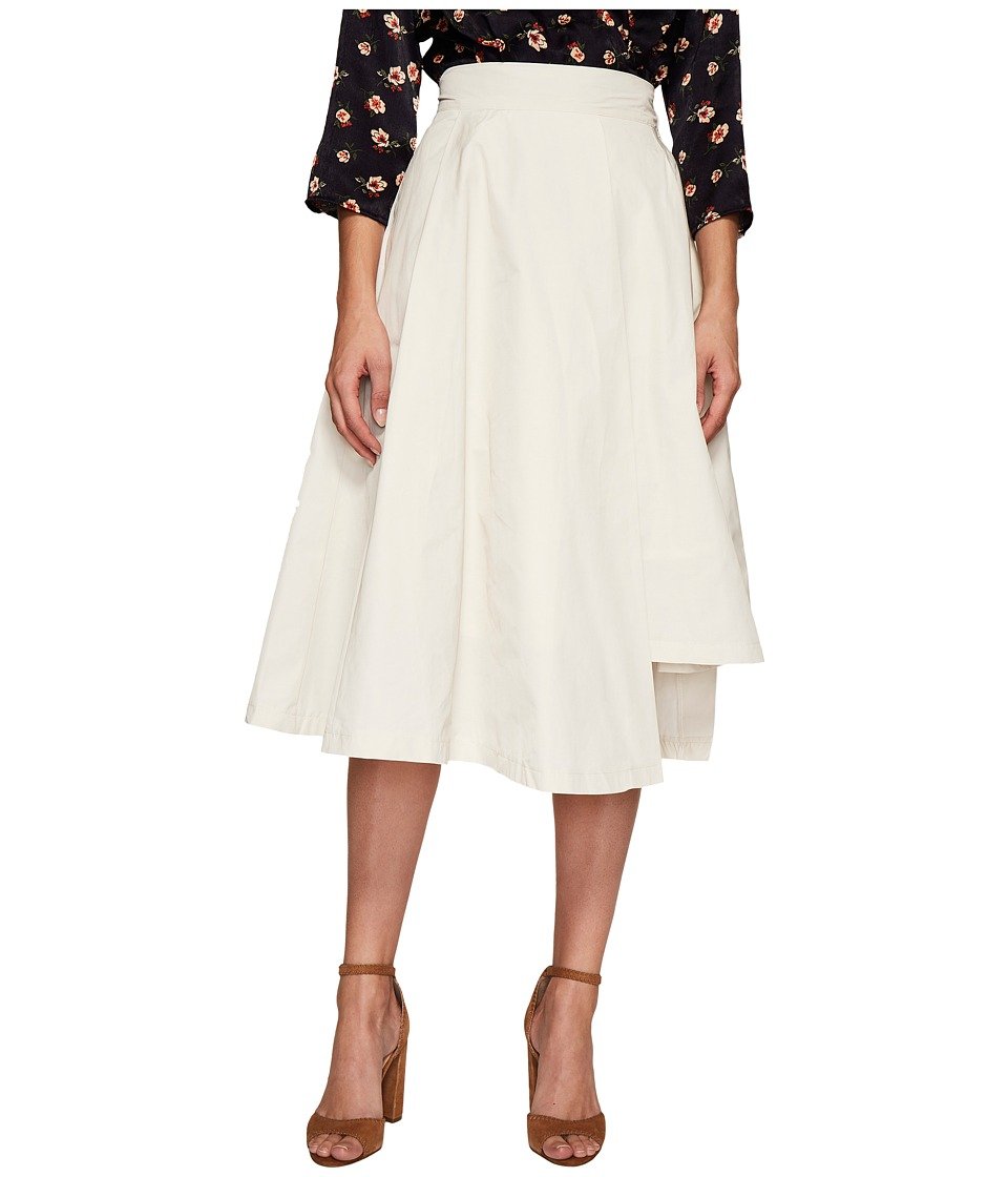 J.O.A. Asymmetric Flare Skirt (Light Beige) Women